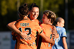 BRISBANE, AUSTRALIA - OCTOBER 30: Allira Toby, Emily Gielnik and Maili Forbes celebrate a goal during the round 1 Westfield W-League match between the Brisbane Roar and Sydney FC at Spencer Park on November 5, 2016 in Brisbane, Australia. (Photo by Patrick Kearney/Brisbane Roar)