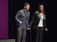 Daniel Capparella '18 and EvaMarie David '19 perform. Occidental College students perform and compete during Apollo Night, one of Oxy's biggest talent showcases, on Friday, Feb. 26, 2016 in Thorne Hall. Sponsored by ASOC, hosted by the Black Student Alliance as part of Black History Month.<br /> (Photo by Marc Campos, Occidental College Photographer)