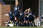 24 November 2007: Notre Dame players mob Brittany Bock after her goal at 12:41 had given them a 1-0 lead. The University of Notre Dame Fighting Irish defeated University of North Carolina Tar Heels 3-2 at Fetzer Field in Chapel Hill, North Carolina in a Third Round NCAA Division I Womens Soccer Tournament game.
