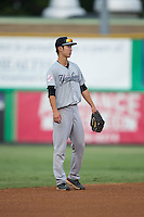 Pulaski Yankees shortstop Hoy Jun Park (34) on defense against the Burlington Royals at Burlington Athletic Park on August 6, 2015 in Burlington, North Carolina.  The Royals defeated the Yankees 1-0. (Brian Westerholt/Four Seam Images)