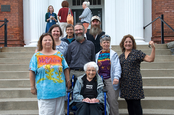 Frances Crowe, 98 year old, and 7 other Sugar Shack Alliance members arrested for blocking Kinder Morgan gas pipeline work in Otis State Forest in Sandisfield MA are arraigned at Southern Berkshire District Court in Great Barrington MA and are charged with civil rather than criminal trespassing June 29, 2017