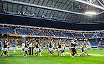 Solna 2015-04-26 Fotboll Allsvenskan AIK - &Ouml;rebro SK :  <br /> Vy &ouml;ver Friends Arena med publik och tomma l&auml;ktarsektioner n&auml;r AIK:s och &Ouml;rebros spelare g&ouml;r entr&eacute; p&aring; planen inf&ouml;r matchen mellan AIK och &Ouml;rebro SK <br /> (Foto: Kenta J&ouml;nsson) Nyckelord:  AIK Gnaget Friends Arena Allsvenskan &Ouml;rebro &Ouml;SK inomhus interi&ouml;r interior supporter fans publik supporters