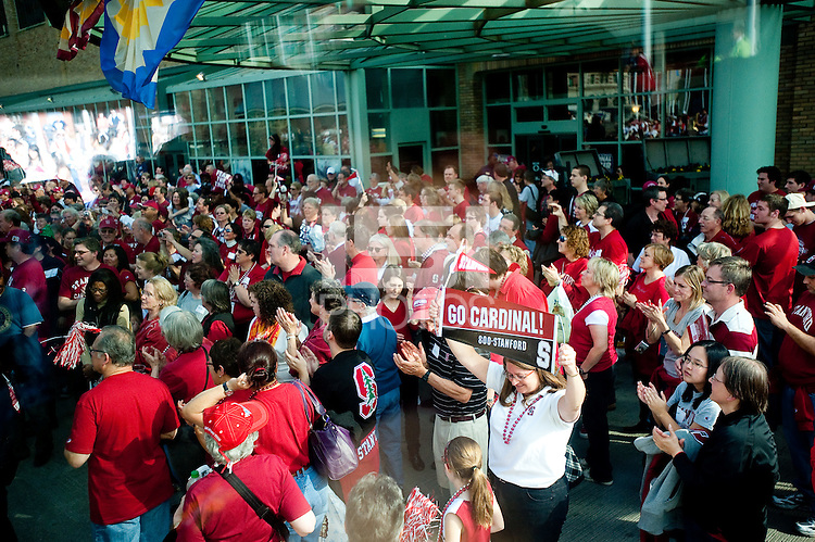 INDIANAPOLIS, IN - APRIL 3, 2011: The Stanford Cardinal and fans enjoy the pregame festivites before the NCAA Final Four against Texas A&M at Conseco Fieldhouse  in Indianapolis, IN on April 1, 2011.