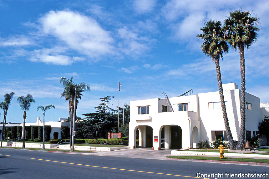 Irving Gill: Civic Center Complex, Oceanside. (Fire House in foreground.) (Photo '86)