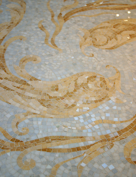 Oceanius backsplash in Celeste, Travertine White, Crema Marfil, Renaissance Bronze, Sylvia Gold