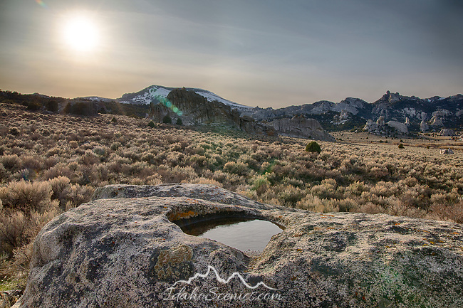 Idaho, South central, Almo. City of Rocks National Reserve. Evening light of a spring day in City of Rocks.