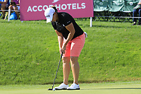 Angela Stanford (USA) putts on the 18th green during Thursday's Round 1 of The Evian Championship 2018, held at the Evian Resort Golf Club, Evian-les-Bains, France. 13th September 2018.<br /> Picture: Eoin Clarke | Golffile<br /> <br /> <br /> All photos usage must carry mandatory copyright credit (&copy; Golffile | Eoin Clarke)