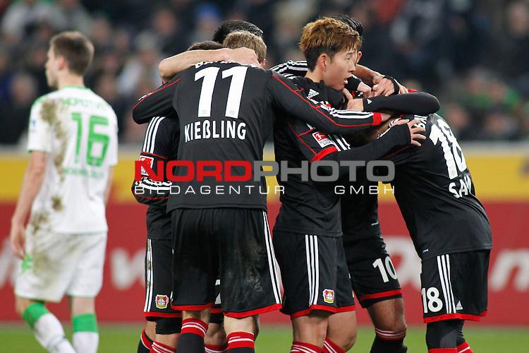 07.02.2014, BorussiaPark , Moenchengladbach, GER, 1.FBL, Borussia Moenchengladbach vs Bayer Leverkusen, im Bild: Stefan Kiessling #11 (Bayer 04 Leverkusen), Heung-Min Son #7 (Bayer 04 Leverkusen), Emre Can #10 (Bayer 04 Leverkusen) und Sidney Sam #18 (Bayer 04 Leverkusen) freuen sich nach dem 0:1 von Heung-Min Son #7 (Bayer 04 Leverkusen)<br /> <br /> Foto &copy; nordphoto / Grimme