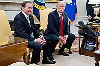 U.S. President Donald Trump speaks as Stefan Lofven, Sweden's prime minister, left, listens during a meeting in the Oval Office of the White House in Washington, D.C., U.S., on Tuesday, March 6, 2018. Trump and Lofven are looking to focus on trade and investment between the two countries and ways to achieve shared defense goals. <br /> CAP/MPI/RS<br /> &copy;RS/MPI/Capital Pictures