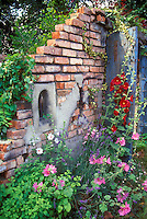 Rustic garden wall, red and pink and white Alcea hollyhocks, lavandula lavender herb with pretty blue garden doors, secret garden