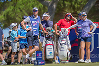 Hannah Green (AUS) and Jodi Ewart Shadoff (GBR) wait on the 11th tee during the third round of the ISPS Handa Women&rsquo;s Australian Open, The Grange Golf Club, Adelaide SA 5022, Australia, on Saturday 16th February 2019.<br /> <br /> Picture: Golffile | David Brand<br /> <br /> <br /> All photo usage must carry mandatory copyright credit (&copy; Golffile | David Brand)