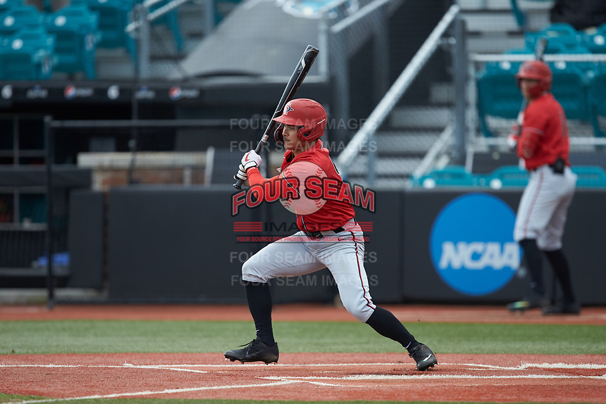 Matt Rudick (9) San Diego State Aztecs follows through on his swing against the UNCG Spartans at Springs Brooks Stadium on February 16, 2020 in Conway, South Carolina. The Spartans defeated the Aztecs 11-4.  (Brian Westerholt/Four Seam Images)