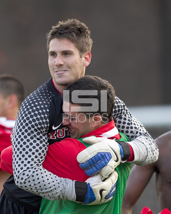 Rutgers University goalkeeper Kevin McMullen (28) celebrates victory. Rutgers University defeated Boston College in penalty kicks after two overtime periods in NCAA Division I tournament action, at Newton Campus Field, November 20, 2011.