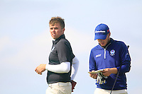 Greig Matchbook and Daniel Young (SCO) on the 12th tee during the Home Internationals day 2 foursomes matches supported by Fairstone Financial Management Ltd. at Royal Portrush Golf Club, Portrush, Co.Antrim, Ireland.  13/08/2015.<br /> Picture: Golffile   Fran Caffrey<br /> <br /> <br /> All photo usage must carry mandatory copyright credit (© Golffile   Fran Caffrey)