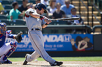 Nashville Sounds second baseman Scooter Gennett (3) swings the bat against the Round Rock Express in the Pacific Coast League baseball game on May 5, 2013 at the Dell Diamond in Round Rock, Texas. Round Rock defeated Nashville 5-1. (Andrew Woolley/Four Seam Images).