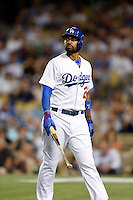 Matt Kemp #27 of the Los Angeles Dodgers returns to the dugout after striking out against the Washington Nationals at Dodger Stadium on May 13, 2013 in Los Angeles, California. (Larry Goren/Four Seam Images)
