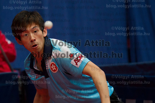 Hong Kong's Wong Chun Ting plays against .Hungary's Gergely Perei (not pictured) during the qualifier of the ITTF World Tour Hungarian Open in Budapest, Hungary on January 17, 2012. ATTILA VOLGYI