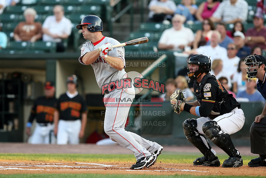 August 24 2008:  David Ross of the Pawtucket Red Sox, Class-AAA affiliate of the Boston Red Sox, during a game at Frontier Field in Rochester, NY.  Photo by:  Mike Janes/Four Seam Images