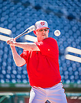 22 May 2015: Washington Nationals Defensive Coordinator and Advance Coach Mark Weidemaier taps out grounders during batting practice prior to a game against the Philadelphia Phillies at Nationals Park in Washington, DC. The Nationals defeated the Phillies 2-1 in the first game of their 3-game weekend series. Mandatory Credit: Ed Wolfstein Photo *** RAW (NEF) Image File Available ***
