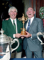 The late Christy O'Connor Jnr and his uncle Christy senior pictured with the Ryder Cup while on a visit to Killarney Gold Club in 1990.<br /> Photo Don MacMonagle