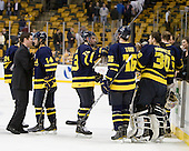 Joe Cucci (Merrimack - 14), Mike Collins (Merrimack - 13), Jesse Todd (Merrimack - 16), Sam Marotta (Merrimack - 30) - The Merrimack College Warriors defeated the University of New Hampshire Wildcats 4-1 (EN) in their Hockey East Semi-Final on Friday, March 18, 2011, at TD Garden in Boston, Massachusetts.