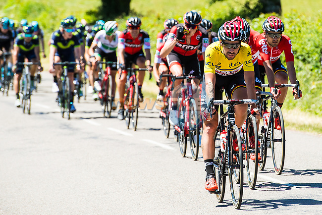 The peloton including race leader Thomas De Gendt (BEL) Lotto-Soudal in action during Stage 5 of the Criterium du Dauphine 2017, running 175.5km from La Tour-de Salvagny to Macon, France. 8th June 2017. <br /> Picture: ASO/A.Broadway | Cyclefile<br /> <br /> <br /> All photos usage must carry mandatory copyright credit (&copy; Cyclefile | ASO/A.Broadway)