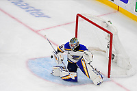 June 6, 2019: St. Louis Blues goaltender Jordan Binnington (50) makes a save during game 5 of the NHL Stanley Cup Finals between the St Louis Blues and the Boston Bruins held at TD Garden, in Boston, Mass. Eric Canha/CSM