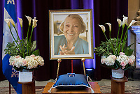 A photograph of Lise Payette is shown during a memorial service in her honour at City Hall in Montreal, Saturday, October 20, 2018. THE CANADIAN PRESS/Graham Hughes