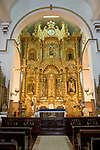 The Golden Altar in the Church of San Jose in Casco Viejo was originally in the Church of San Jose in Panama Viejo.  Henry Morgan, the pirate, sacked the city in 1671,  and the altar escaped being plundered because the priests had painted it black.  It was moved to the newly constructed church in Casco Viejo in 1673.  It is actually carved mahogany and covered with gold leaf.  Panama City, Panama.  Casco Viejo is part of a UNESCO World Heritage Site.