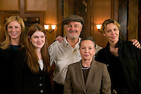 "8 May 2006 - North Bergen, NJ - French actress Leslie Caron (2R) poses with (LtoR, background) Diane Neal, Lily Rabe, Director Ted Kotcheff and Connie Nielsen, on the studio set of television show ""Law & Order: SVU"" in North Bergen, USA, 8 May 2006. In this rare appearance in front of American television cameras, Caron, 74, plays a French victim of past sexual molestation in an episode entitled ""Recall"" due to air in the fall. Caron starred in Hollywood classics such as ""An American in Paris"" (1951), ""Lili"" (1953), ""Gigi"" (1958). More recently she appeared in ""Chocolat"" (2000) and ""Le Divorce"" (2003). Photo Credit: David Brabyn"
