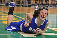 Boston, MA  - Braintree's (12) Rachel Norton screams in pain after diving for a loose ball as Andover beats Braintree 54-39 in the Division 1 State semi-finals at TD Garden on Tuesday, March 13, 2012.