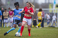 Naomi (Ex On the Beach) goes in for a tackle during the SOCCER SIX Celebrity Football Event at the Queen Elizabeth Olympic Park, London, England on 26 March 2016. Photo by Andy Rowland.
