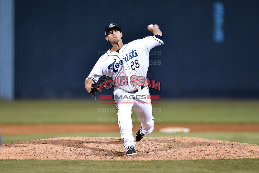 Asheville Tourists pitcher Jerry Vasto (28) delivers a pitch during a game against the Hickory Crawdads on April 22, 2015 in Asheville, North Carolina. The Crawdads defeated the Tourists 6-1. (Tony Farlow/Four Seam Images)