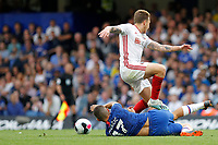Mateo Kovačić of Chelsea disposesses Luke Freeman of Sheffield United during the Premier League match between Chelsea and Sheff United at Stamford Bridge, London, England on 31 August 2019. Photo by Carlton Myrie / PRiME Media Images.