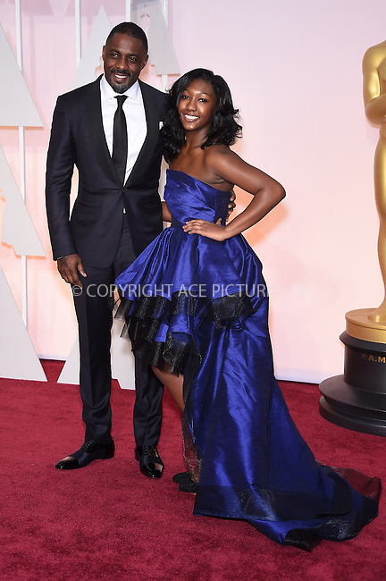 WWW.ACEPIXS.COM<br /> <br /> February 22 2015, LA<br /> <br /> Idris Elba, Isan Elba arriving at the 87th Annual Academy Awards at the Hollywood &amp; Highland Center on February 22, 2015 in Hollywood, California<br /> <br /> <br /> By Line: Z15/ACE Pictures<br /> <br /> <br /> ACE Pictures, Inc.<br /> tel: 646 769 0430<br /> Email: info@acepixs.com<br /> www.acepixs.com