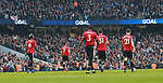 United players walk back after City's second goal during the premier league match at the Etihad Stadium, Manchester. Picture date 7th April 2018. Picture credit should read: Simon Bellis/Sportimage