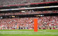 Sept. 13, 2009; Glendale, AZ, USA; Detailed view of the end zone pylon during the game between the Arizona Cardinals against the San Francisco 49ers at University of Phoenix Stadium. San Francisco defeated Arizona 20-16. Mandatory Credit: Mark J. Rebilas-