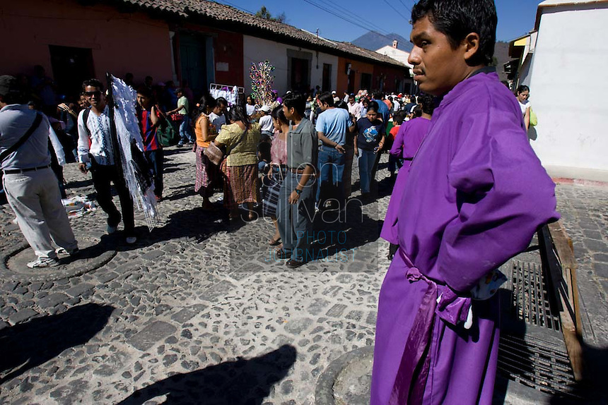 During the Procesión de Jesús Nazareno de La Caída from Iglesia San Bartolomé Becerra in Antigua, Guatemala. Each weekend during Lent features a procession by a different church, culminating in Semana Santa, or Holy Week, one of the largest Easter commemorations in Latin America.