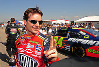 Oct 4, 2008; Talladega, AL, USA; NASCAR Sprint Cup Series driver Jeff Gordon during qualifying for the Amp Energy 500 at the Talladega Superspeedway. Mandatory Credit: Mark J. Rebilas-