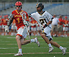 Aidan Byrnes #1 of Chaminade, left, gets pressured by Gregory Campisi #21 of St. Anthony's during the Nassau-Suffolk CHSAA varsity boys lacrosse Class AA final at Mitchel Athletic Complex on Tuesday, May 15, 2018. The game went to halftme tied 8-8 when a prolonged lightning storm forced a postponement.