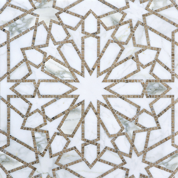 Castilla, a waterjet and hand-cut stone mosaic, shown in honed Jura Grey and polished Calacatta Tia, is part of the Miraflores Collection by Paul Schatz for New Ravenna.
