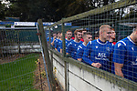 The players waiting in the tunnel area before Nelson (in blue) hosted Daisy Hill in a North West Counties League first division north fixture at Victoria Park. Founded in 1881, the home club were members of the Football League from 1921-31 and has played at their current ground, known as Little Wembley, since 1971. The visitors won this fixture 6-3, watched by an attendance of 78.