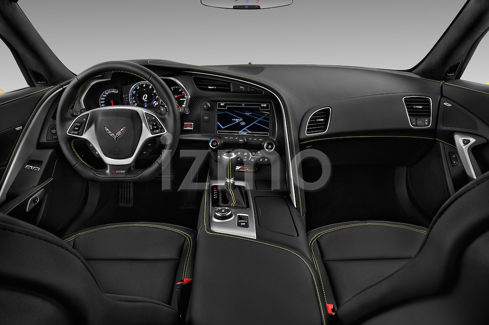 Stock photo of straight dashboard view of 2016 Chevrolet Corvette Z06-Coupe-1LZ 3 Door Targa Dashboard