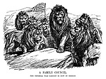 A Family Council. The Imperial War Cabinet is now in session. (the British Lion heads a meeting of Lions with a British flag flying in the background during WW1)