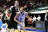 GRONINGEN - Basketbal, Donar - Apollo Amsterdam, Martiniplaza,  Dutch Basketbal League, seizoen 2018-2019, 11-11-2018,  Donar speler Drago Pasalic met Apollo speler Berend Weijs