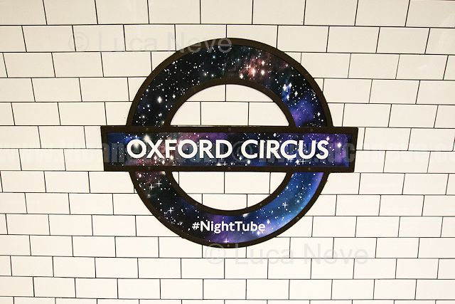 Oxford Circus tube station.<br /> <br /> London, 19/08/2016. Tonight, Transport For London (TfL) launches for the first time in London's history the 24-hour tube service starting with Central and Victoria Lines (51 stations in total). The service comes a year later than planned by the former Mayor of London Boris Johnson (now British Foreign Secretary) due to several strikes held by TfL workers over pay and safety reasons. Jubilee, Northern and Piccadilly lines will follow in two separate phases later in the autumn as new Tube drivers (about 200 part-time drivers) will end their training. At the moment the trains run on average every 10 minutes and TfL charges standard off-peak fares for travelling on the Night Tube.<br /> <br /> For more information please click here: https://tfl.gov.uk/campaign/tube-improvements/what-we-are-doing/night-tube