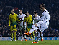 12.12.2013 London, England. Tottenham Hotspur forward Roberto Soldado (9) bags a hat trick with a spot kick during the Europa League game between Tottenham Hotspur and Anzhi Makhachkala from White Hart Lane.