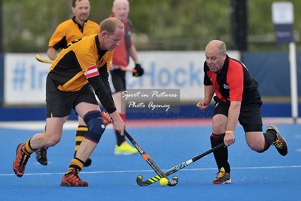 WHITING Rob (Captain, Bournemouth) and HOLAH Steve (Bowdon). Bournemouth v Bowdon (Men's Over 50's Shield Final). Pitch 2. Men's Knockout Finals 2017. Lee Valley Hockey and Tennis Centre. London. UK. 29/04/2017. ~ MANDATORY CREDIT Garry Bowden/SIPPA - NO UNAUTHORISED USE - +44 7837 394578