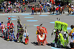 Native Aboriginal Dancers at Calgary Olympic Sguare in downtown  Calgary, Alberta, Canada.