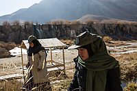 Hamina and her colleague Amida, who is 7 months pregnant but continues to come to the park every day, Afghanistan, November 8, 2017.<br /> <br /> Hamina et sa collègue Amida enceinte de 7 mois mais qui continue néanmoins à venir chaque jour au park,  Afghanistan,November 8, 2017.